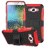 Heartly Flip Kick Stand Spider Hard Dual Rugged Armor Hybrid Bumper Back Case Cover For Samsung Galaxy E7 SM-E700F Dual Sim - Hot Red