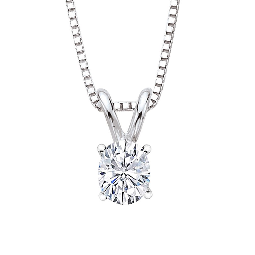 GIA Certified 0.7 ct. F - SI2 Oval Cut Diamond Solitaire Pendant with Chain in 14K White Gold