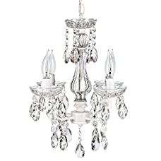 Elizabeth White Crystal Chandelier, Mini Swag Plug-In Glass Pendant 4 Light Wrought Iron Ceiling Lighting Fixture Lamp