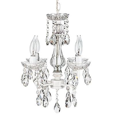 Elizabeth White Crystal Chandelier, Mini Swag Plug-In Glass Pendant 4 Light Wrought Iron Ceiling Lighting Fixture Lamp