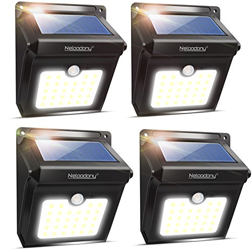 Solar Lights, Neloodony Solar Motion Sensor Security Lights 28 LED Waterproof Solar Powered Light Outdoor Lights for Garden, Fence, Patio, Yard, Walkway, Driveway, Stairs, Outside Wall etc. (4 Pack)