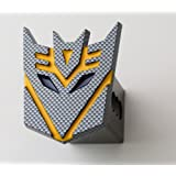 """3.5"""" Transformer Decepticon Black Carbon (yellow) 3d Logo Trailer Metal Hitch Cover Fits 2"""" Receivers"""