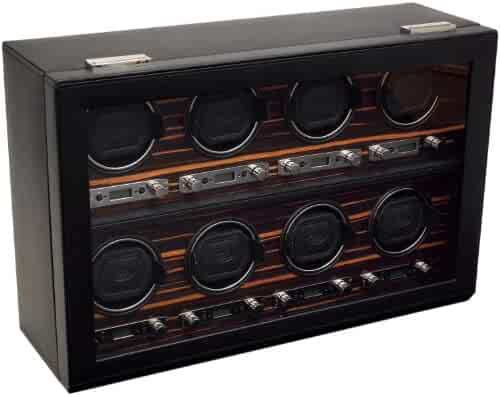 WOLF 459356 Roadster Eight Piece Watch Winder with Cover, Black
