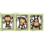 Little Mod Pod Monkeys - Nursery Art Prints (5x7, (3) Set of Three)