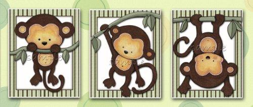 - Little Mod Pod Monkeys - Nursery Art Prints (5x7, (3) Set of Three)