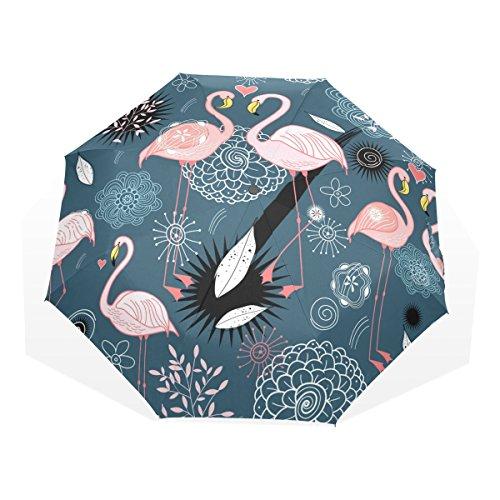 LORVIES Flamingos Sun Rain Umbrella Windproof Folding Travel Umbrella