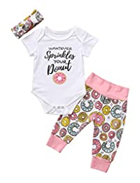 3pcs Newborn Baby Girl Floral Clothes Short Sleeves Donuts Bodysuit Jumpsuit Long Pants Headband Outfits