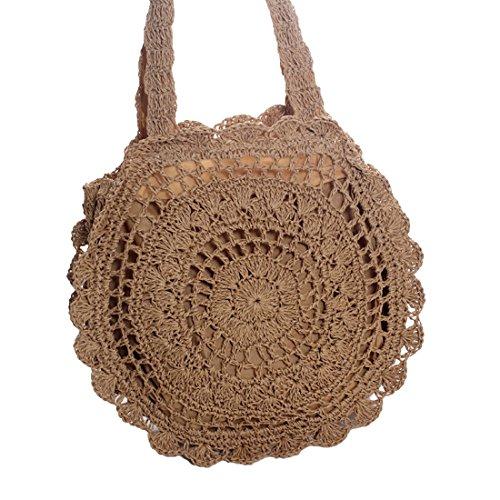 TOYIS straw bags - Bolso al hombro para mujer Marrón Claro