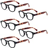Reading Glasses Fashion Men and Women Readers Spring Hinge with Pattern Design Eyeglasses for Reading (5 Pack Black, 3.5)