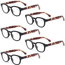 Reading Glasses 5 Pack Unisex Fashion Spring Hinge with Pattern Design Readers, 5 Pack Black, Medium