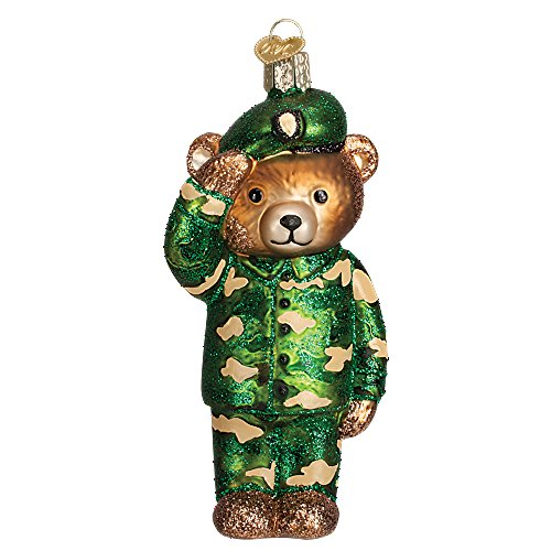 Old World Christmas Military Bear Collection Glass Blown Ornament (Army)