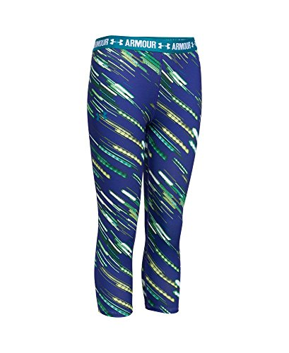 Under Armour Girls' HeatGear Armour Printed Capri, Teal Blast (933), Youth - Youth Blast