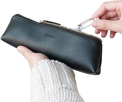 Estuche de piel sintética para lápices, diseño delgado con bolsillo metálico con cremallera para pinceles de maquillaje, color negro: Amazon.es: Oficina y papelería