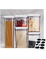 [Ankou Life] Airtight Push Top White Lid Pantry Container Set (with Free 8pcs Chalk Label & 1 White Pen)
