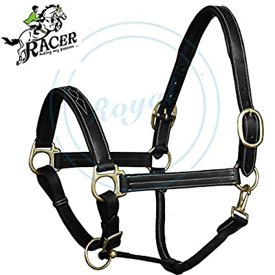 Racer Triple White Stitched Fancy Padded Halter./ European Cow Leather./ Brass Buckles.