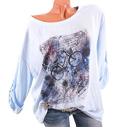 Manches Automne Bleu Mode Jumpers Shirt Printemps JackenLOVE Rond Tops Casual Femmes Imprime Longues Hauts Blouse Tee Col Clair T 5OzwqT8wx