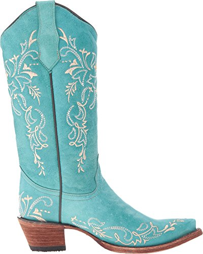 Leather Women's Embroidery Corral Designed Cowgirl Turquoise Boots Turquoise wTqR6HnRO