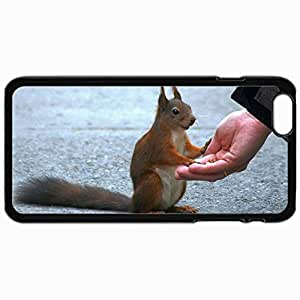 Personalized Protective Hardshell Back Hardcover For iPhone 6 Plus, Friendly Squirrel Design In Black Case Color