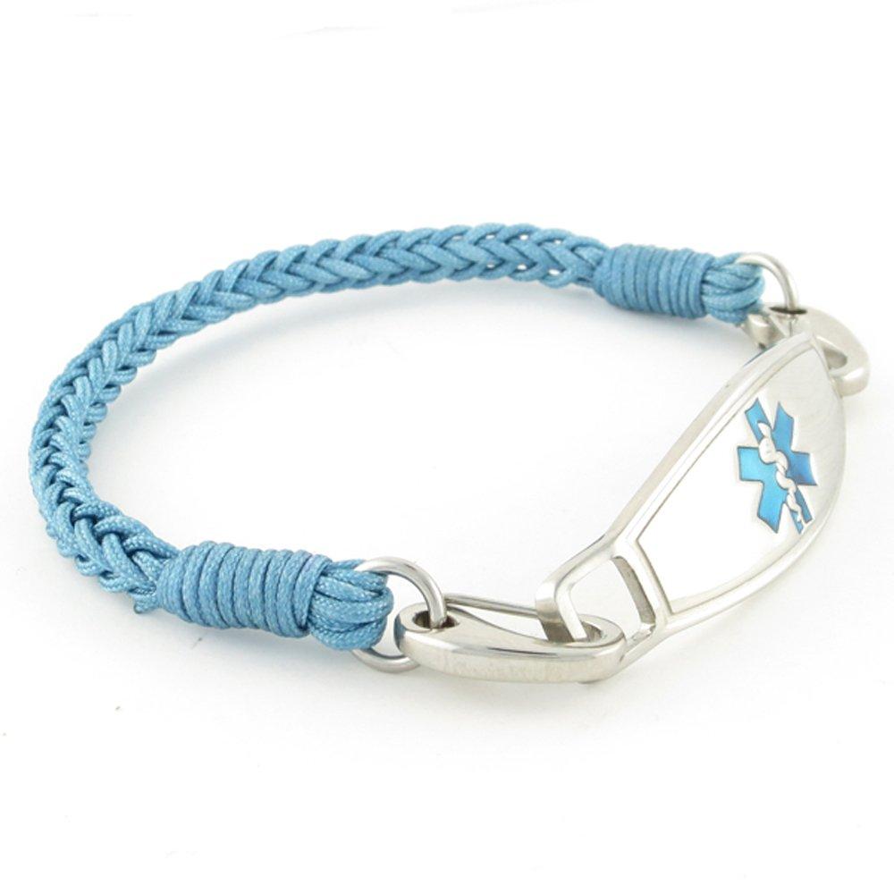 Braided Medical Alert ID Bracelet - Custom Engraving Included -Fun, Modern & Casual - River