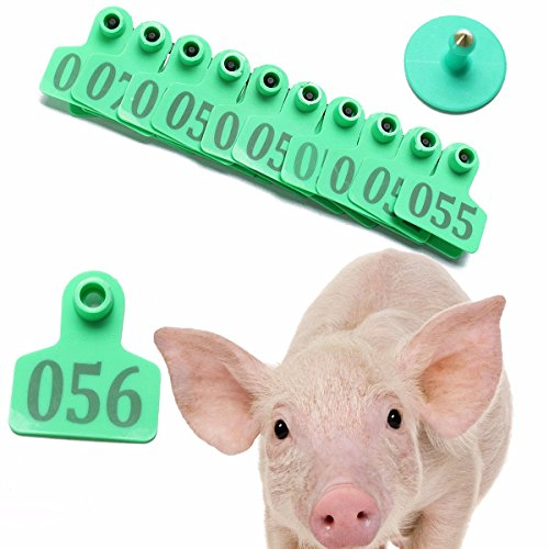 CocinaCo 100Sets Green Animals Cattle Goat Pig Sheep Use Ear Number Tag Livestock Tags Labels