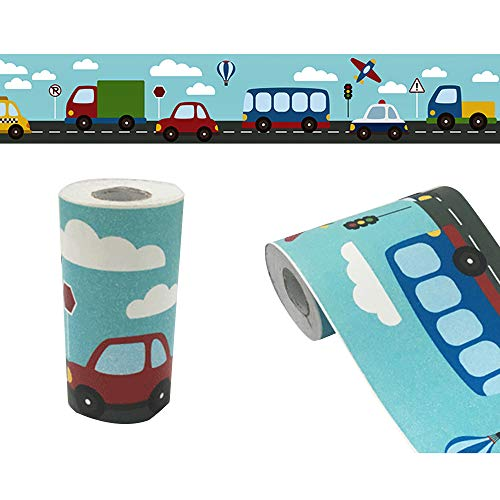 (Yifely Traffic Car Wallpaper Border Self-Adhesive Wall Decor Sticker for Kids Room Nursery School Classroom)