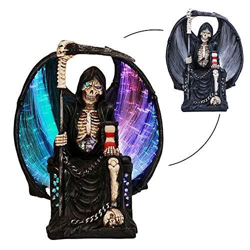 ABZ Brand Grim Reaper Crystal Ball Fiber Optic Statue Figurine Gothic Fantasy ()