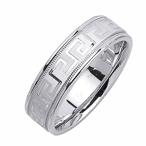 6.5mm 14K White Gold Greek Key Comfort Fit Wedding Ring Band Available Size (5 to 14) - Size (14k White Gold Key Ring)