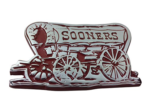 AMG Oklahoma Sooner Schooner Wagon METAL Auto Emblem with Crimson Trim
