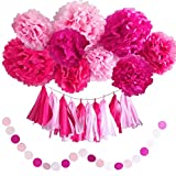 hot pink party decorations - Girl's Baby Shower Decorations Set and Birthday Party Decor Kit Pink and Hot Pink Pom Pom Tissue Flowers and Tissue Paper Tassels Garland Set by Memories Party Decor 41 Pieces