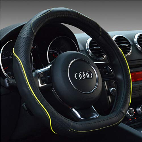 - D-type Car Steering Wheel Cover, Flat-bottom Car Steering Wheel Cover Leather Comfortable And Breathable Four Seasons Universal,Yellow