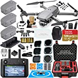 DJI Mavic 2 PRO Drone Quadcopter with DJI Smart Controller (W/Touch Screen Display) and Fly More Kit Bundle with 3 Batteries, Rugged Carry Case, Filter Set & Must Have Accessories (12 Items)