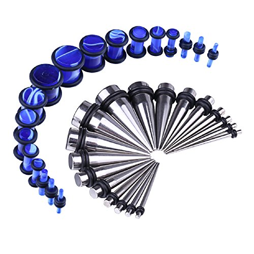 BodyJ4You 36PC Gauges Kit Ear Stretching 14G-00G Steel Tapers Blue Marble Acrylic Plugs Set Jewelry