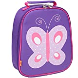 Yodo Kids Insulated Lunch Tote Bag with Name Tag for Girls, Butterfly