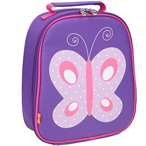 Yodo Kids Insulated Lunch Tote Bag with Name Tag for Girls, Butterfly (Lunch Insulated Kids)