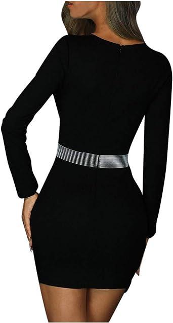 MEIbax damska sukienka z długim rękawem, z dekoltem w kształcie litery V, do pracy, elegancka, na ołÓwki, krÓtka, sukienka do przewijania, na imprezę: Odzież