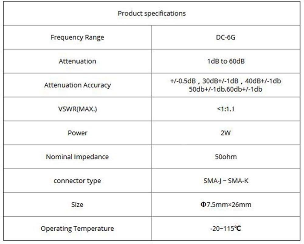 2W SMA Coaxial RF Attenuator DC to 6.0GHz 50ohm,1//2//3//5//6//10//15//20//30//40//50//60dB 30db