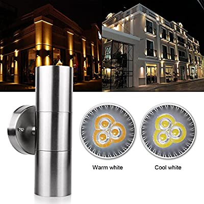 Outdoor Wall Sconce LED Lights-Modern Waterproof Up Down Stainless Steel Cylinder LED Wall Light Fixtures Dual Head Wall Lamp With GU10 LED bulb for Courtyard Garden Porch Corridor