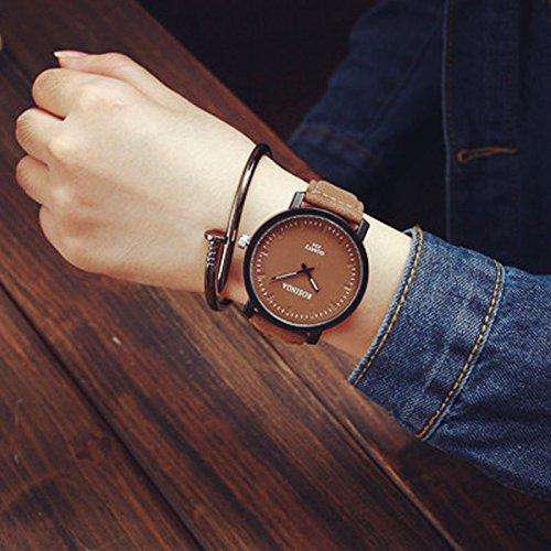 Elegance Stainless Steel Analog (Fashion Lover Watch Men women ,Vanvler Leather Quartz Analog Round Steel Case Wrist Watch (Coffee))