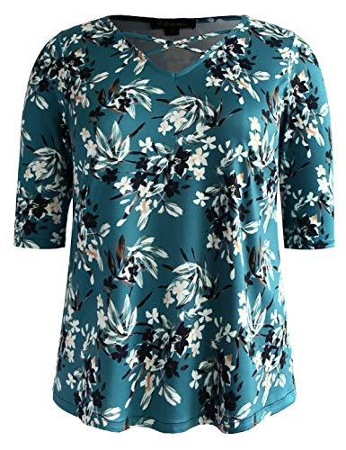 Chicwe Womens Plus Size Stretch Lattice Front Floral Tunic Top