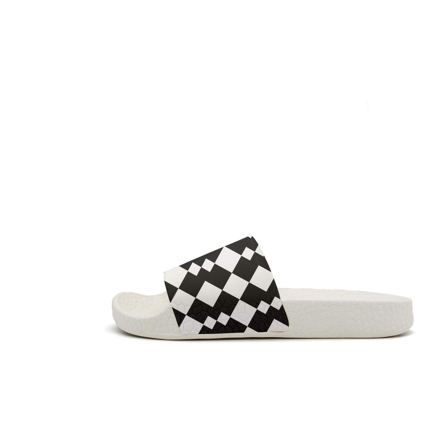 TAKLOOL Black and White Vector Abstract Geometric Shapes Quick Dry Super Soft Womens Slide Sandal