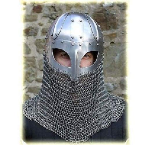 qualitymusicshop New Historial Medieval Viking Helmet Battle Armor+18G Steel ()
