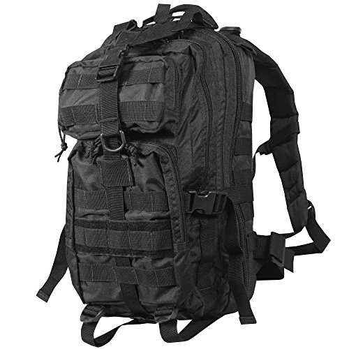 Rebel Tactical DKC452 Assault Compact Stealth Military Molle Daypack Hunting Camping Outdoor Hiking Paintball Airsoft Bag, Black, 18-Inch