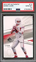 2014 sp authentic #10 DEREK CARR oakland raiders rookie card PSA 10 Graded Card
