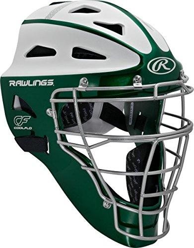 Rawlings Sporting Goods Adult Softball Protective Hockey Style Catcher's Helmet, Dark Green/White