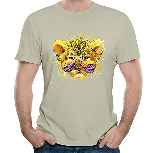 Eijudge Color Tiger With Sunglasses Men's Short Sleeves Pure Color - Sunglasses Customize Your Cheap Own