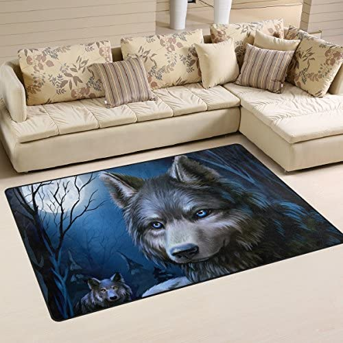Yochoice Non-slip Area Rugs Home Decor, Hipster Wolf Blue Night Sky Floor Mat Living Room Bedroom Carpets Doormats 60 x 39 inches