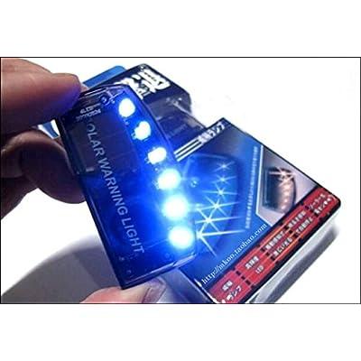 Sunnytech 1pc Solar Car Burglar Alarm 6LED Flashing Anti-Theft Warning Light GSPX D141 (Blue): Automotive