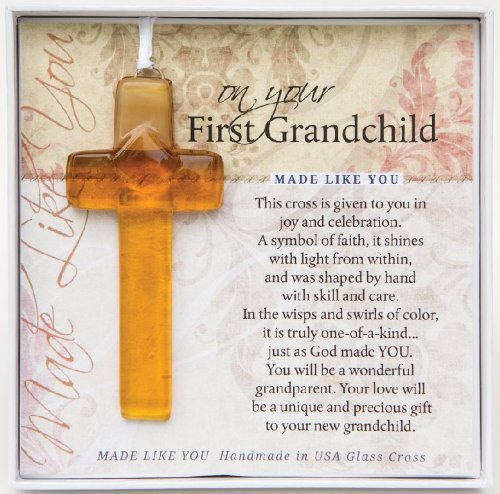 On Your First Grandchild Keepsake Glass Cross Gift for New Grandparents