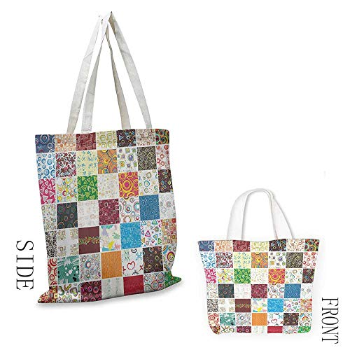 Ladies casual canvas bag House Decor Big Patchwork of Different Patterns Traditional Classical Festive Image Cosmetic bag 16.5