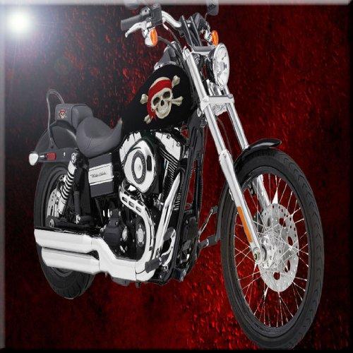 12 x 12 Rikki Knight Motorcycle Pirate Skull Design Ceramic Art Tile